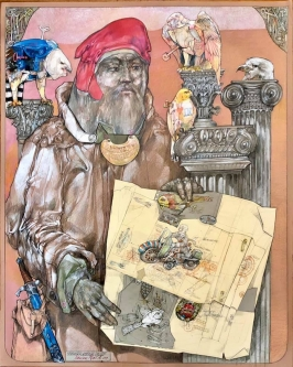 Robert A. Nelson |  Leonardo Invents Tin Toys, 2019 |  Collage- pencil, colored pencil, aquamedia |  40 x 32 | framed |  $7,300. SOLD