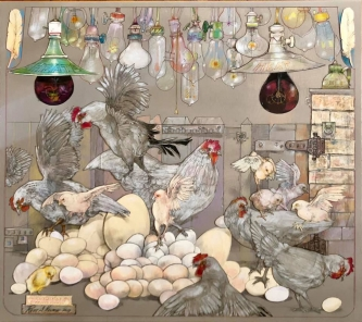 Robert A. Nelson |   Egg Warmers, 2019 |  Collage- pencil, colored pencil, aquamedia |  28.5 x 32 | framed |  $6,500. SOLD