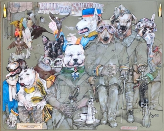 Robert A. Nelson |  Old Photo of Canine Korps, 2019 |  Collage- pencil, colored pencil, aquamedia |  32 x 40 |  $11,000.