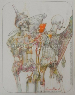 Robert A. Nelson |  Tin Woodman Repairs a Wing on His Sister Novacaine, 2013 |  Pencil, Color Pencil, Watermedia |  14 x 11 |  $750. SOLD