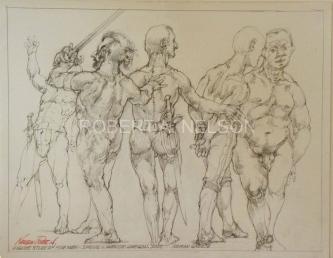 Robert A. Nelson  |  Figure Study of Five Men, 2012 |  Pencil |  11 x 14 |  $150.