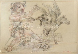 Robert A. Nelson |  Minotaur Starts to Capture New Stock for his Flying Stable, 2012 |  Pencil, Color Pencil, Watermedia |  15 x 22 |  $800. SOLD