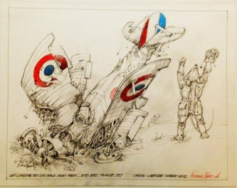 Robert A. Nelson |  Any Landing you Can Walk Away From... , 2012 |   Pencil, Color Pencil, Gouache |  11 x 14 |  SOLD