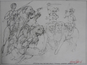Robert A. Nelson |  2nd Study for the Dog Dolls, 2015  Pencil  9 x 12   $115. SOLD