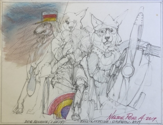 Robert A. Nelson |   Dog Roughs 1 of 17 |   Pencil, colored pencil |  10.5 x 8.5 |  $90. SOLD