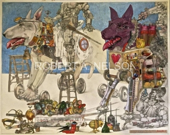Robert A. Nelson |  Dog Boys, 2015  |  Collage- Pencil, Color pencil, Watermedia |  32 × 40  | framed  $4,000. SOLD