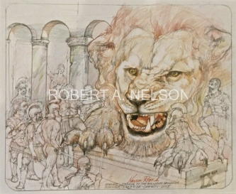 Robert A.  Nelson |  Lion and Romans Come to Terms, 2015 |  Pencil, Color Pencil  |  14 x 17 | framed  $900. SOLD