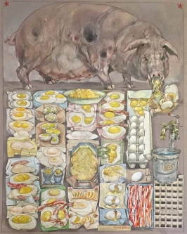 Robert A. Nelson |  Pet Pig Protein, 2015 |  Collage- Pencil, Color Pencil, Gouache |  40 x 32 |   $4,000. SOLD