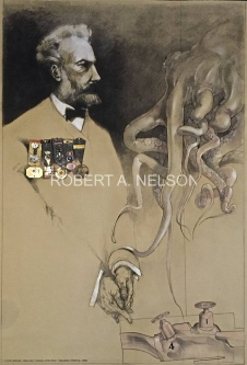 Robert A. Nelson |  Jules Verne, 1992 - Released from the vault |  Collage, Charcoal, Personal Objects  |  40 x 30 |  SOLD