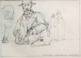 ROBERT A. NELSON  WELDING THE JAW, 2004  Pencil, Color Pencil 11 x 8  $50. -SOLD