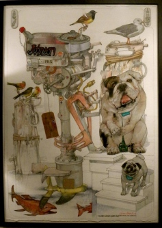 Robert A. Nelson |  Outboard Motor |  Collage - Pencil, Color Pencil, Gouache |  32 x 40 | framed   $4,000. SOLD