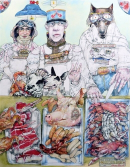 Robert A. Nelson |  The Somewhere Family Butcher Shoppe, 2016 |  Collage- Color Pencil, Watermedia |  40 x 32  | framed |  $4,000.  SOLD