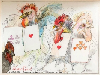 Robert A. Nelson  |  Card Birds, 2019 |  Collage- pencil, colored pencil, aquamedia |  11 x 14 | framed |  $750. SOLD