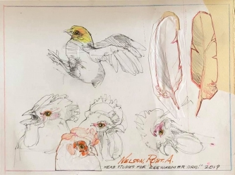 Robert A. Nelson  |  Head Studies for Egg Warmer Drg., 2019 |  Pencil, colored pencil |  9 X 12 |  $100. SOLD