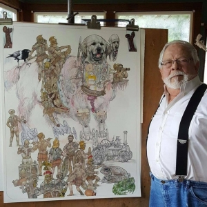 Robert at home in Oregon working on, The Trojan Dog, Fall 2016