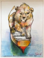 Lion in a Small Boat, 2019  Collage- pencil, colored pencil, aquamedia  12 x 9  $1,000.  SOLD