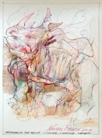 Reshaping the Rhino   Pencil, colored pencil,  aquamedia  12 x 9  SOLD
