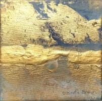 Sheila O'Keefe Braun    Pearl    Acrylic, gold leaf, fingerwork/knives    6 x 6    $250.  