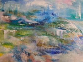 Sheila O'Keefe Braun  Whisperings  Acrylic, fingerwork, knives  36 x 48  $3800.