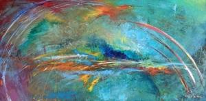 Sheila O'Keefe Braun  XVII  Acrylic, fingerwork, knives  24 x 48  $3400.