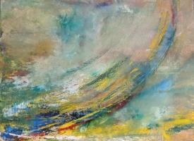 Sheila O'Keefe Braun   Slo͞op  Acrylic, fingerwork, knives  36 x 36  $3200.