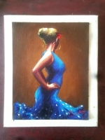 DAVID SILVA H  FLAMENCA BLUE   ACRYLIC    16 x 12.5    $300.