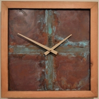 GLENN DETWILER  CLOCK II  Reclaimed hand-plained wood 14 x 14  $272.