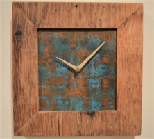 GLENN DETWILER  CLOCK III  Copper with wood barn siding frame 10 x 10  $120.