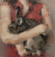 JAMES DOHERTY  GIRL WITH BROWN HARE  Oil and Cold Wax 6 x 6  $300