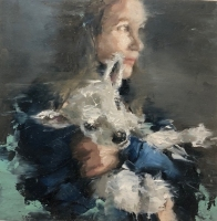 JAMES DOHERTY  GIRL WITH LAMB  Oil and Cold Wax 6 x 6  $300