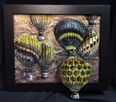 JUDITH HUMMEL  BEE SCAPE; BALLOON FESTIVAL  Acrylic:Mixed-Media 7.5 x 9.5  $150