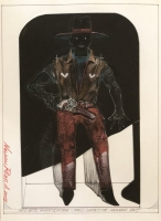 ROBERT A. NELSON  BAD BOB GUNFIGHTER  COLLAGE - COLOR PENCIL, PENCIL 11 x 8  $300