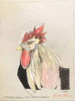 ROBERT A. NELSON  ROOSTER CHICKEN   COLOR PENCIL, PENCIL  11 x 8   $300