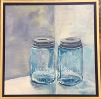 SUZANNE DINGER  BLUE JARS  Oil ON PANEL 12 x 12  $300