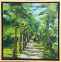 SUZANNE DINGER  SUMMER STROLL  Oil ON PANEL 12 x 12  $300.
