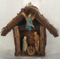 TIM RAY FISHER  SMALL NATIVITY  Assemblage 9 x 9 x 3  $125