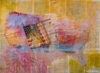 Sheila O'Keefe Braun |  #5  |  Acrylic Painted with fingers/palette knives, fabric, printed paper |  36 x 48 | SOLD