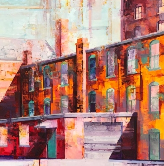 Michael Bartmann  |  Fulton Street East |  Oil on Board  |  24 X 24  |  $2,500. SOLD