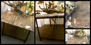 WES NEWSWANGER RECLAIMED PALLET TOP TABLE W/ IRON LEGS *sealed for outdoor use 695.